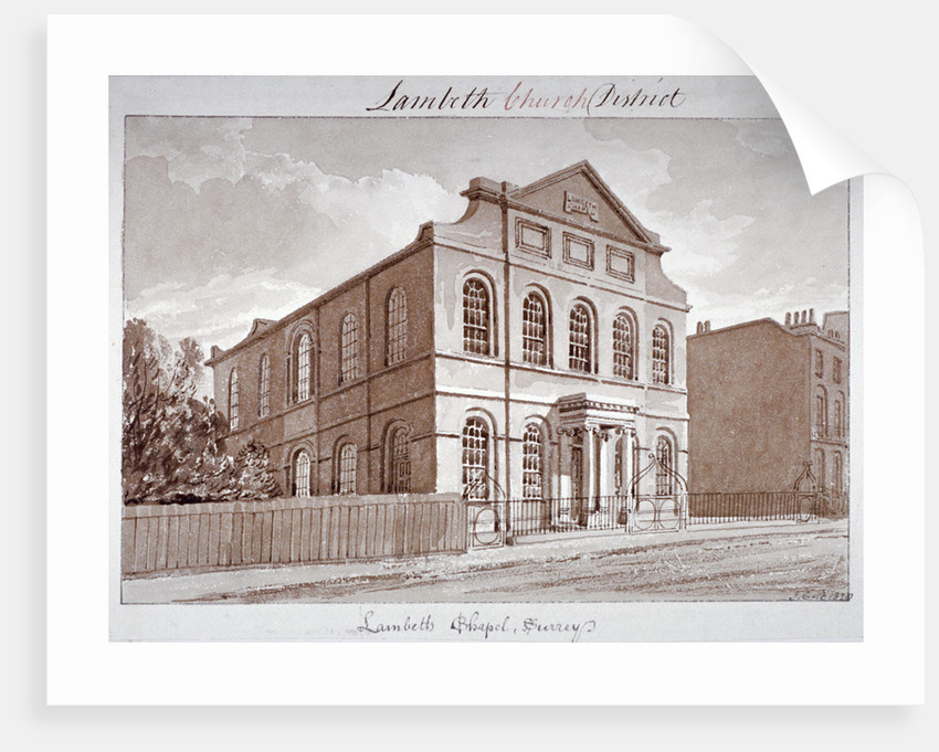 View of a chapel on York Road, Lambeth, London by John Buckler