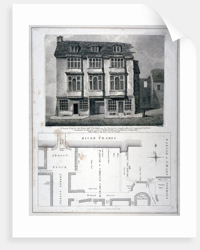 South view of the Falcon Tavern, Bankside, Southwark, London, as it appeared in 1805 (1811) by