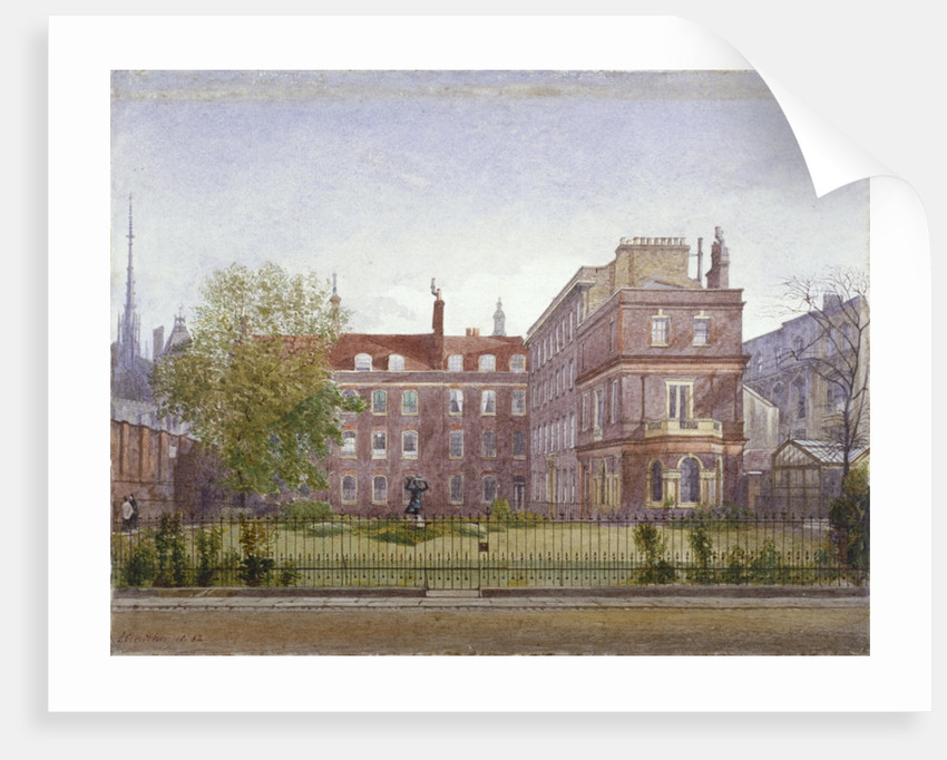 View of Clement's Inn from the north west looking across the gardens, London by John Crowther