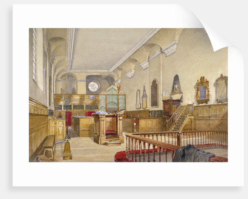 Interior view of St Michael's Church, Wood Street, City of London by John Crowther