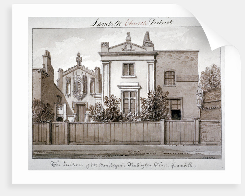 Mr Armitage's residence in Penlington Place, Lambeth, London by John Chessell Buckler