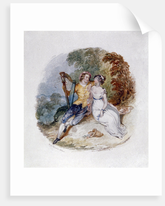 Two Lovers on a Bank with a Harp by Henry Courtney Selous