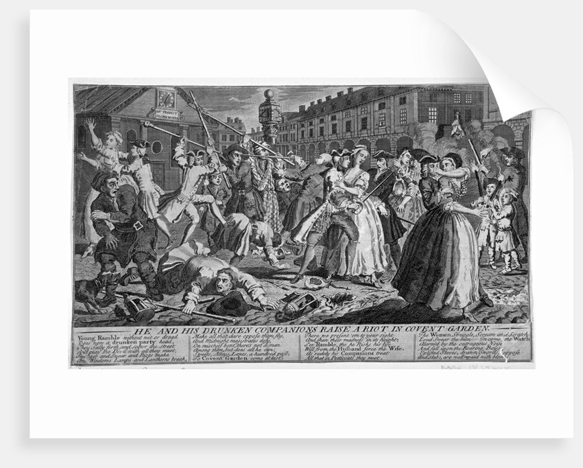 He and his drunken companions raise a riot in Covent Garden by Anonymous