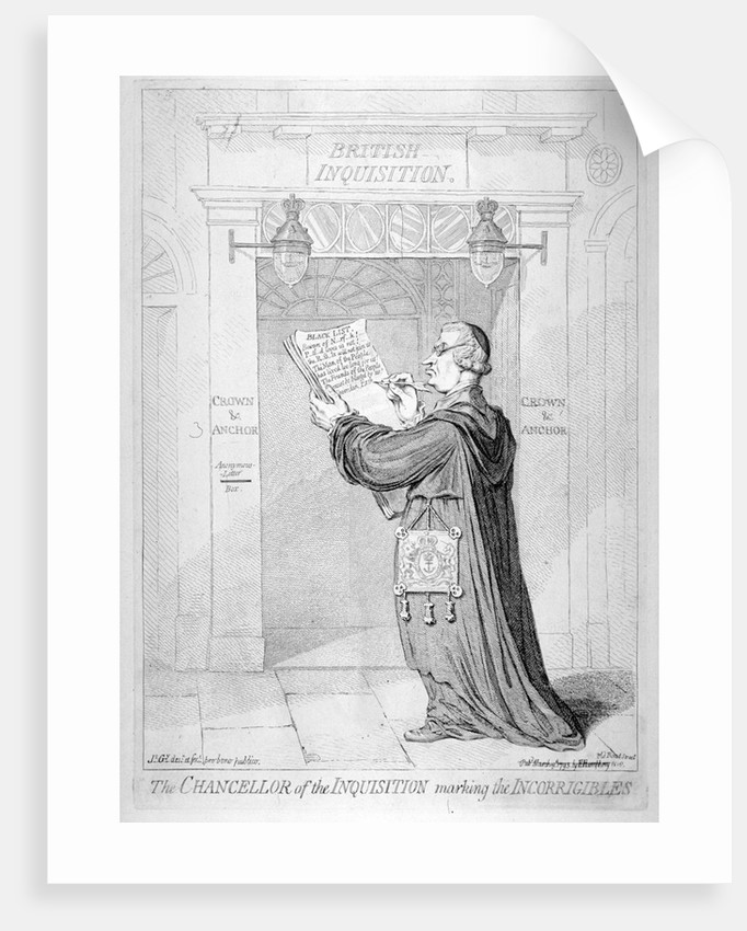 The Chancellor of the Inquisition marking the incorrigibles by James Gillray