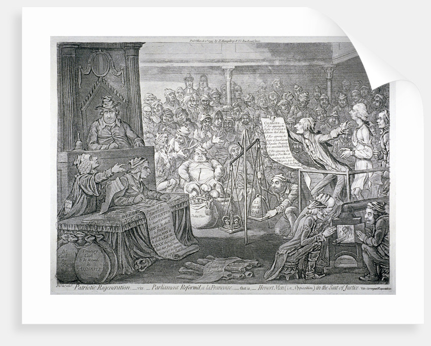 Scene inside the House of Commons, Westminster, London by James Gillray