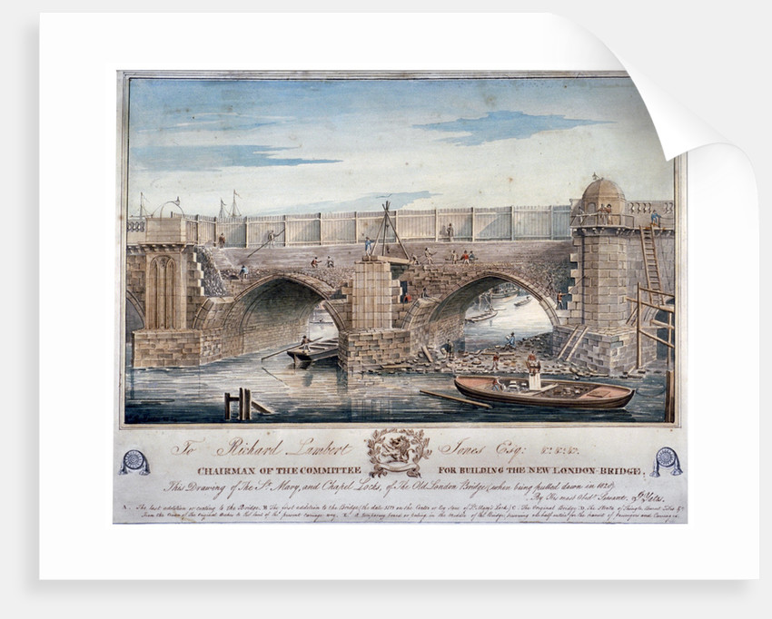 St Mary and Chapel Locks being pulled down, London Bridge by G Yates