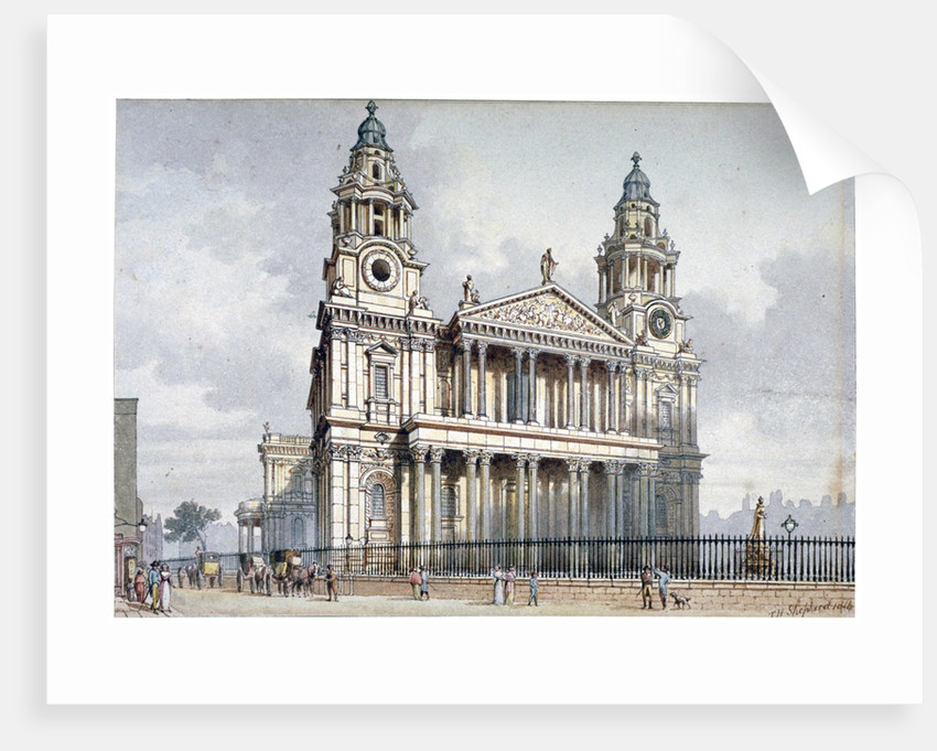 West front of St Paul's Cathedral, City of London by Thomas Hosmer Shepherd