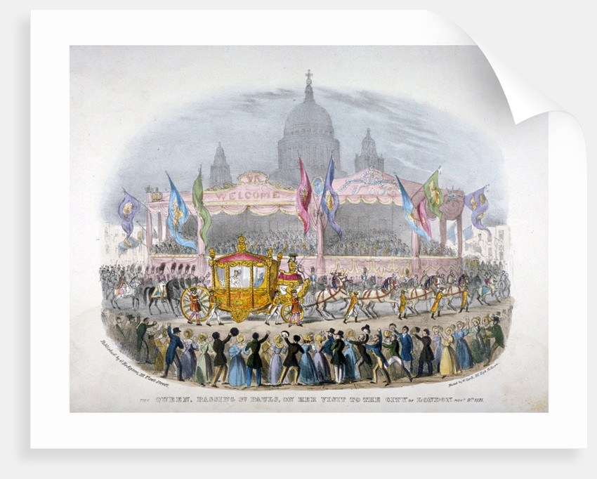 Royal coach passing St Paul's Cathedral, City of London by Anonymous