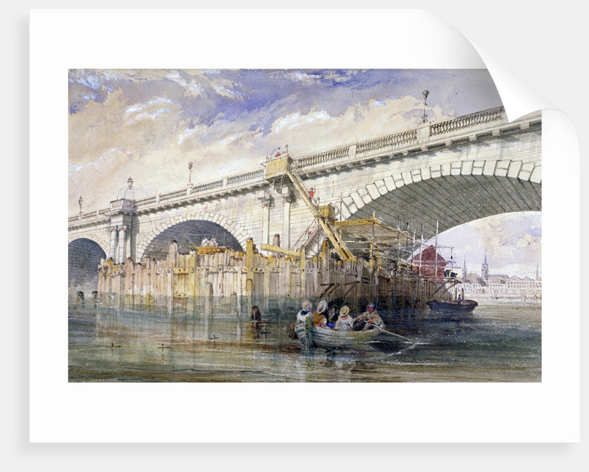 Coffer dam erected for repairing the pier of Blackfriars Bridge, London by Clarkson Stanfield