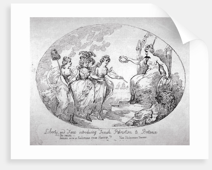Liberty and Fame introducing Female Patriotism to Britania by Thomas Rowlandson