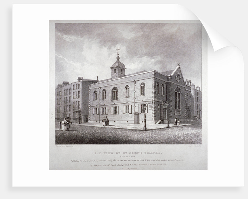 South-east view of St John's Chapel, Bedford Row, Holborn, London by