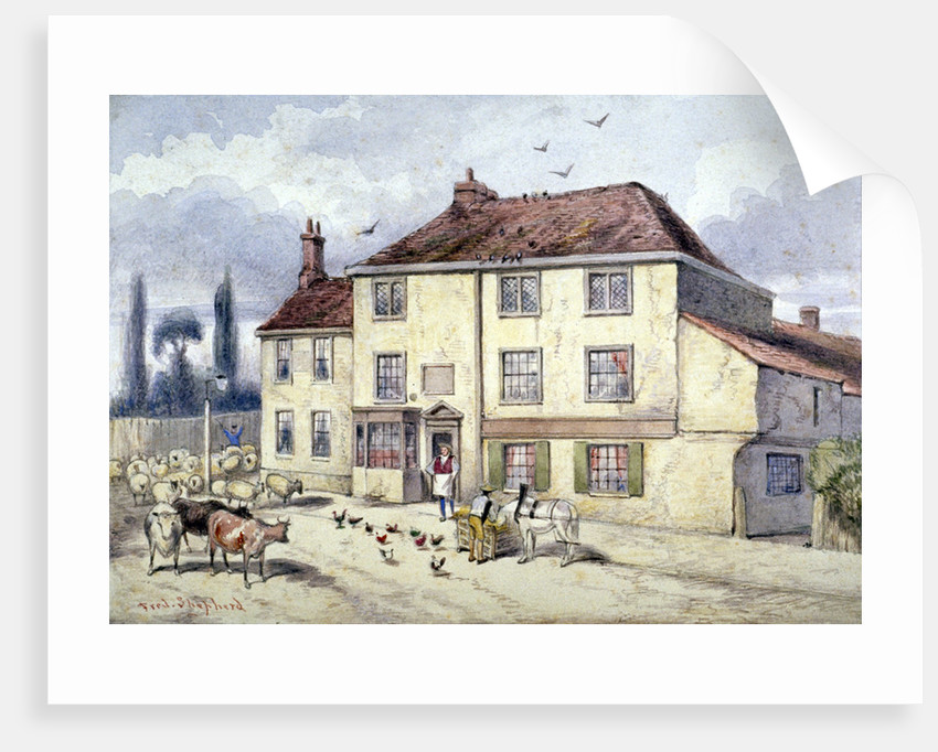 View of the old Pied Bull Inn, Islington, London by Frederick Napoleon Shepherd
