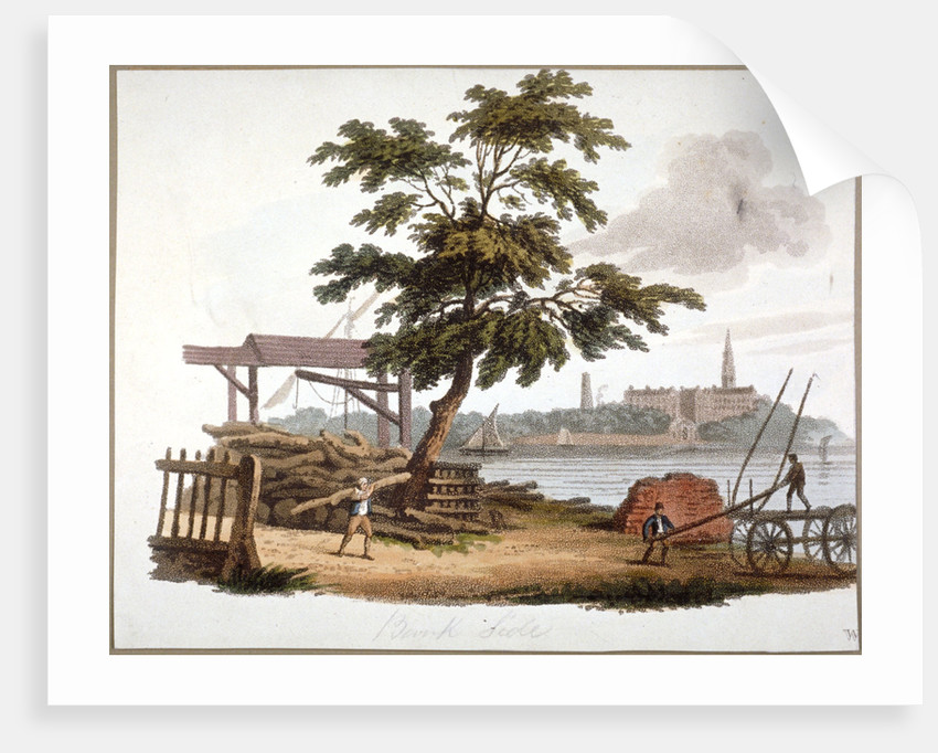 Men moving timber at Bankside, Southwark, London by William Pickett