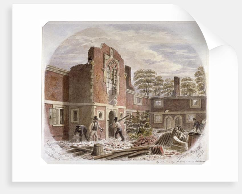 Men demolishing St Peter's Hospital, Southwark, London by James Findlay