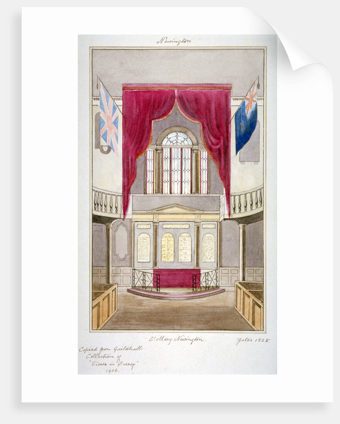 Interior of the Church of St Mary Newington, Newington Butts, Southwark, London by Anonymous