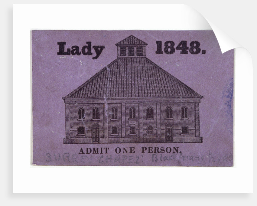 A ticket of admission for a lady to Surrey Chapel, Blackfriars Road, Southwark, London by Anonymous