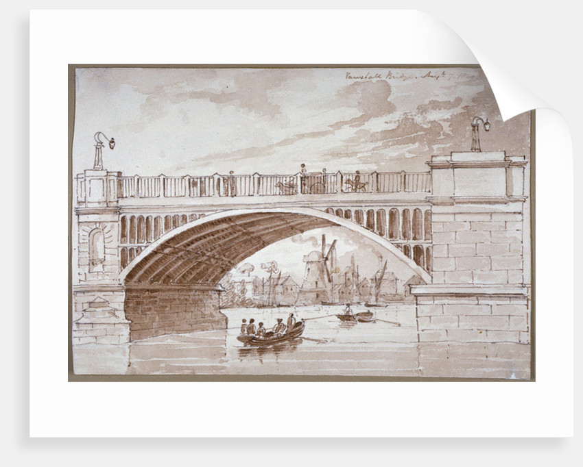 View of a small boat passing underneath Vauxhall Bridge, London by
