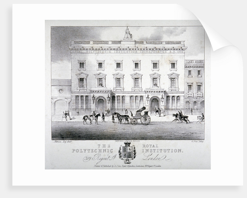 View of Regent Street Polytechnic with horse-drawn vehicles in front, London by GJ Cox
