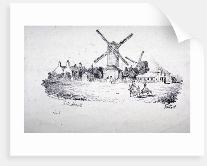 View of Blackheath, showing windmills and buildings, Greenwich, London by William Day