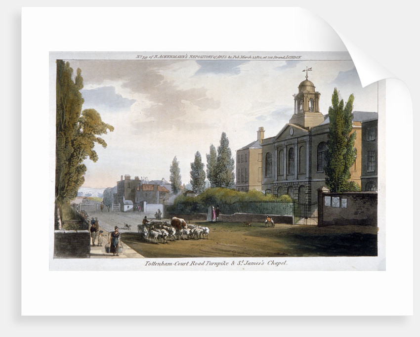 St James's Chapel and Tottenham Court Turnpike, St Pancras, London by Anonymous