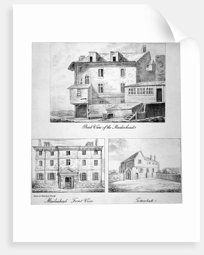 Three views of Toten Hall, Tottenham Court Road, St Pancras, London by Anonymous