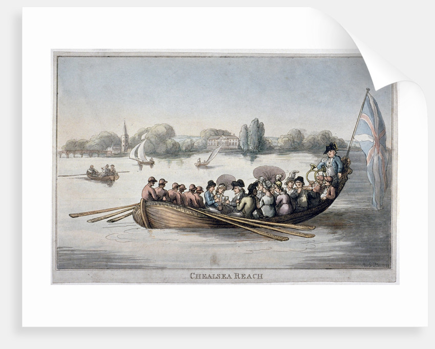 View showing figures in a rowing boat on the Thames at Chelsea Reach, London by Anonymous