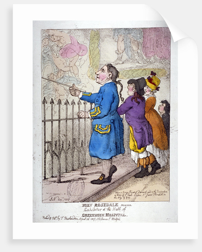 John Rosedale, mariner, exhibitor of the hall of Greenwich Hospital by Thomas Rowlandson