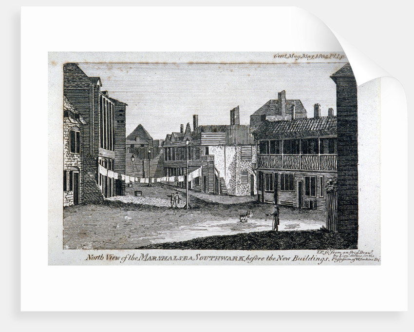 North view of Marshalsea prison on Borough High Street, Southwark, London by Anonymous