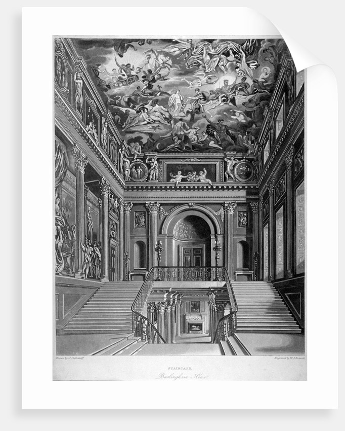 View of a staircase in Buckingham House, Westminster, London by William James Bennett