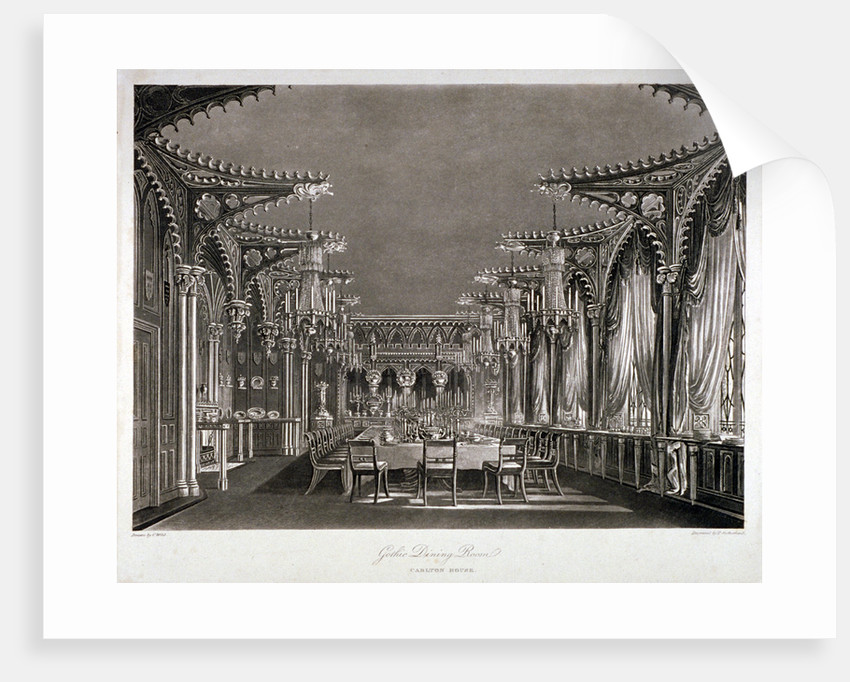 Interior view of the gothic dining room in Carlton House, Westminster, London by Thomas Sutherland