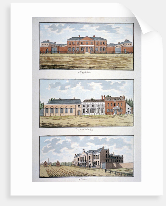 Three buildings in St George's Fields, Southwark, London by Thomas Trotter