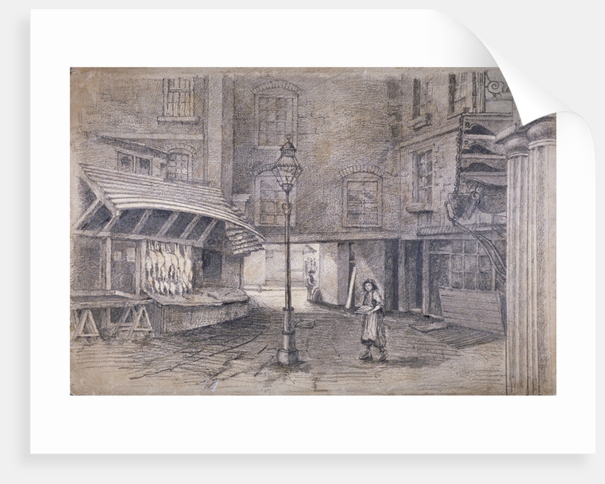 Poulterer's shop in Clare Market, Westminster, London by E Holah