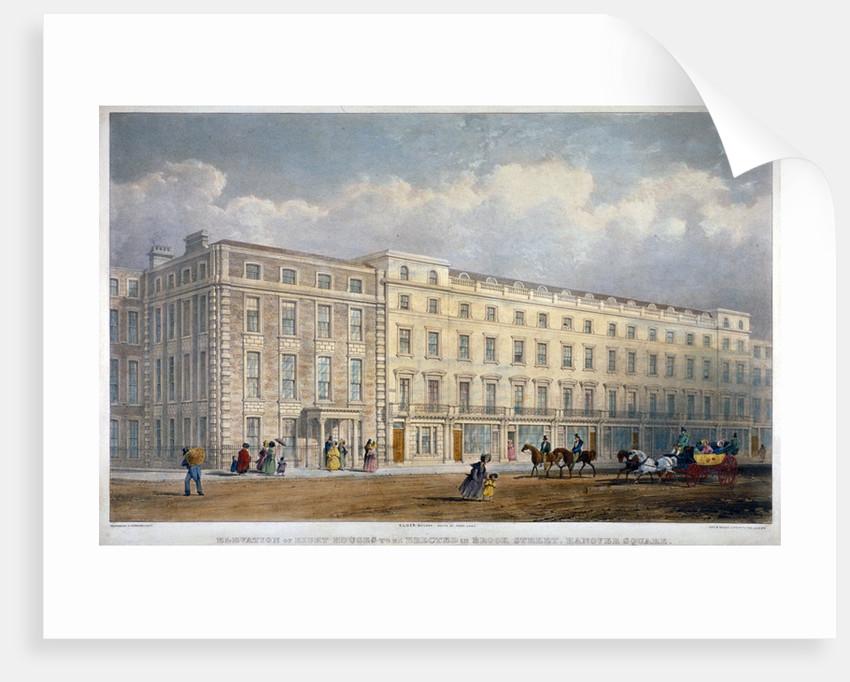 View of eight houses in Brook Street, Westminster, London by George Hawkins