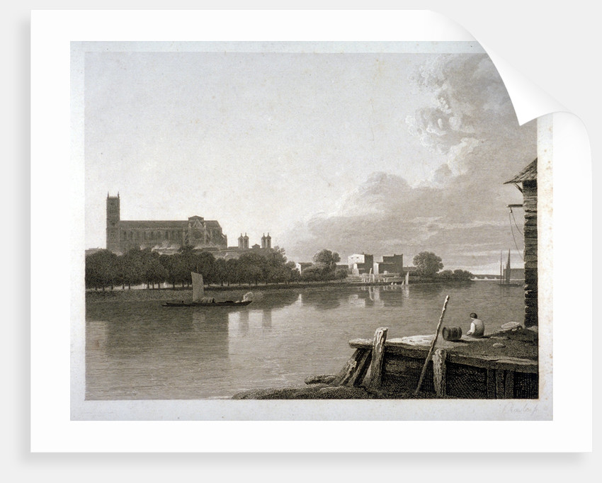 Westminster Abbey from the opposite side of River Thames, London by Samuel Rawle