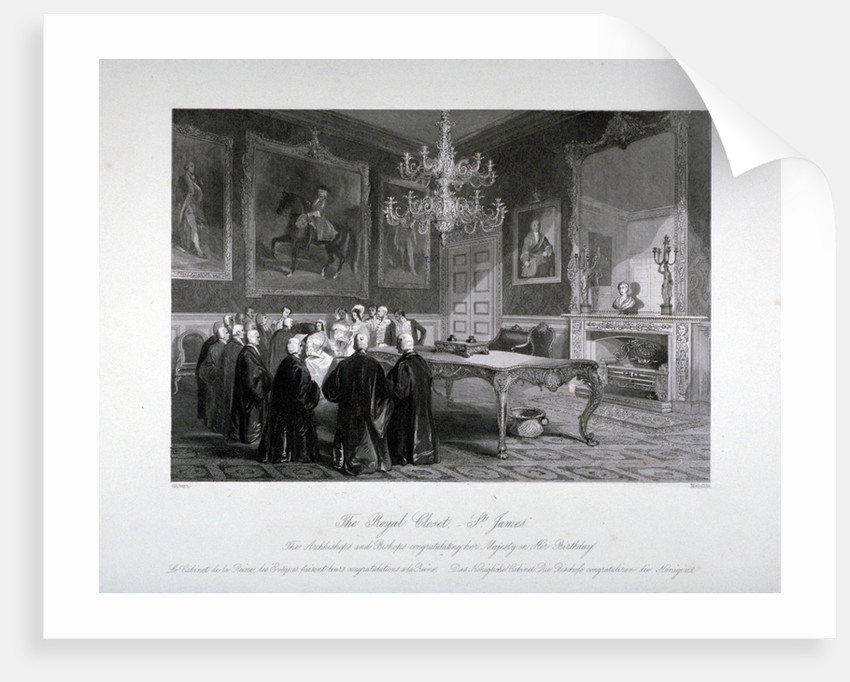 Interior view of the Royal Closet in St James's Palace, Westminster, London by Harden Sidney Melville