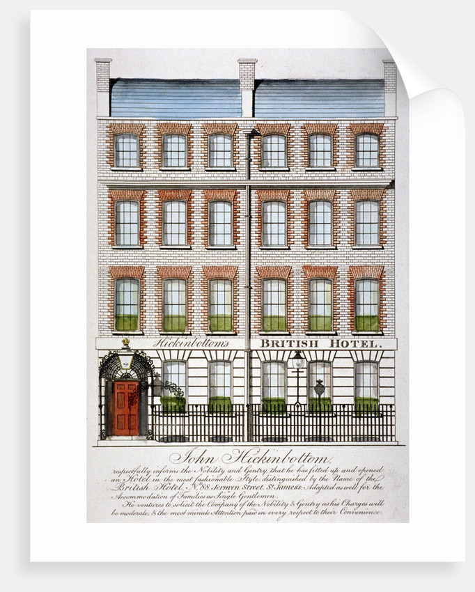 View of the British Hotel, Jermyn Street, London by Anonymous