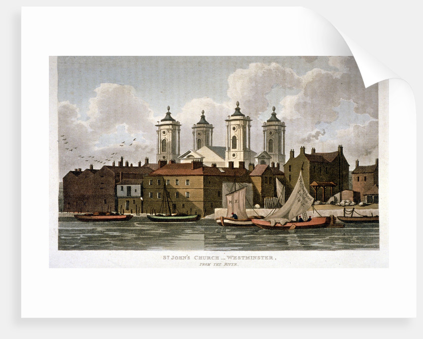 Church of St John the Evangelist from the River Thames, Westminster, London by
