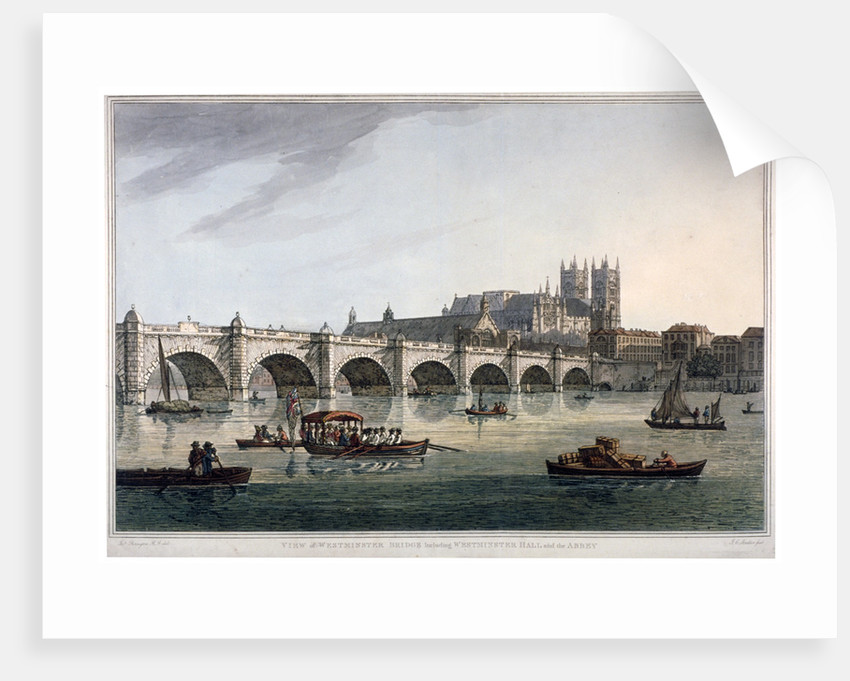 Westminster Bridge, Westminster Abbey and Westminster Hall, London by Joseph Constantine Stadler