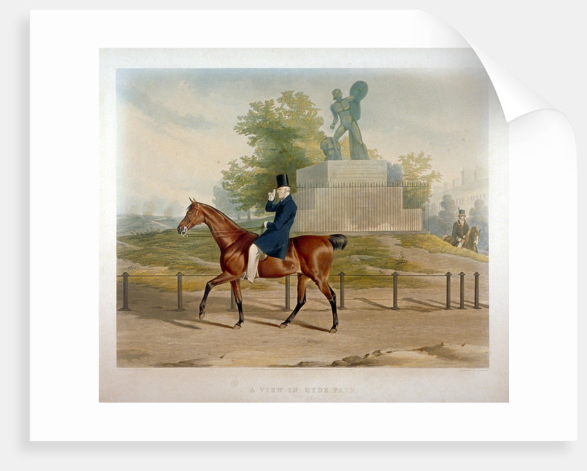 The Duke of Wellington riding past the Achilles statue in Hyde Park, London by John Harris