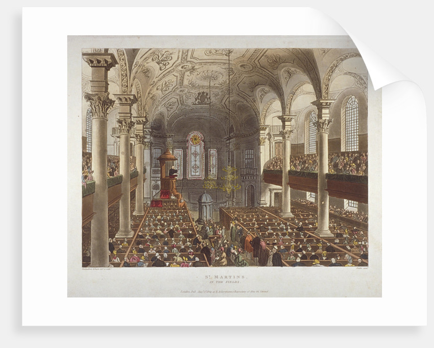 Interior of the Church of St Martin-in-the-Fields, Westminster, London by Augustus Charles Pugin