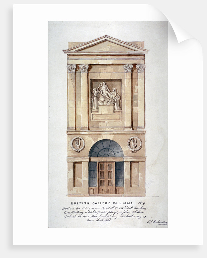View of the entrance to the British Institution, Pall Mall, Westminster, London by Charles James Richardson