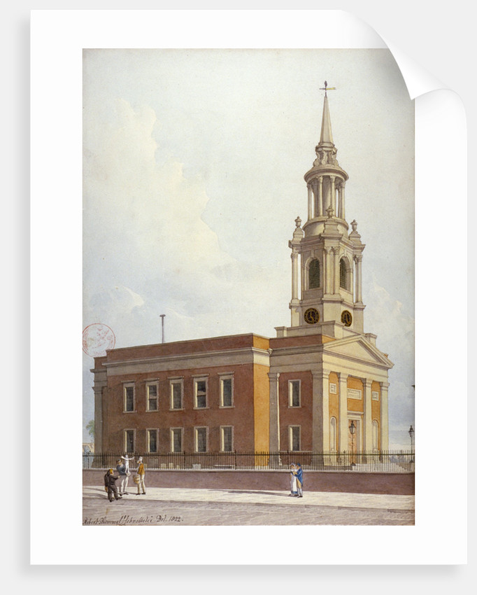 North-west view of St Paul's Church, Shadwell, London by Robert Blemmell Schnebbelie