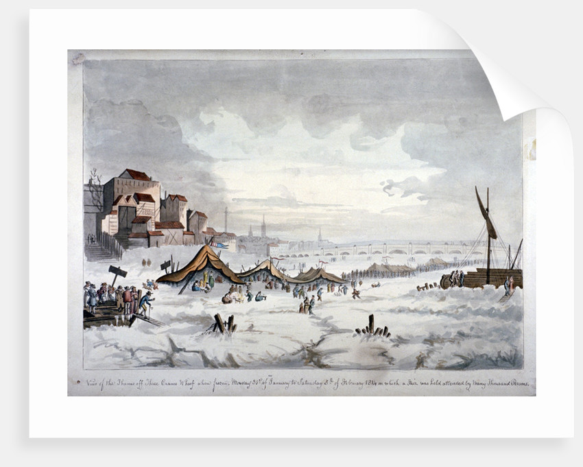 View of a frost fair on the River Thames, London by Anonymous