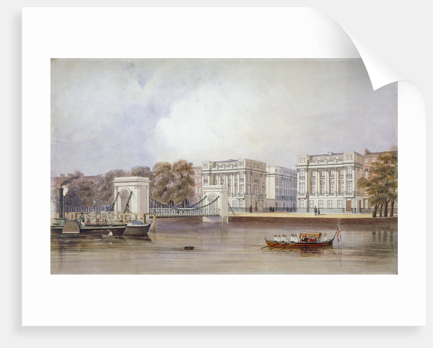 View of Cadogan Pier with boats on the River Thames, Chelsea, London by
