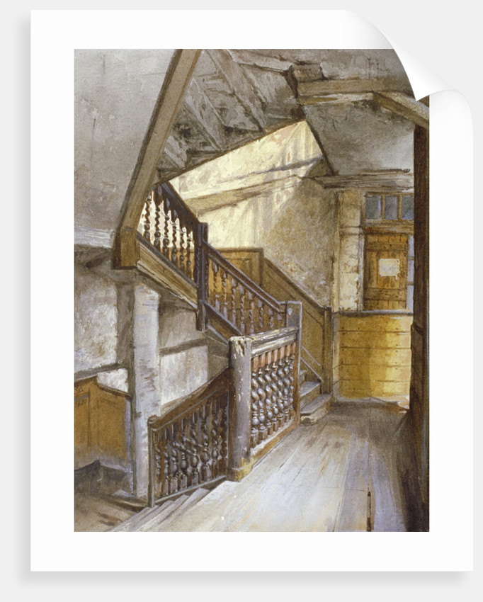 Interior view of a staircase in a house in White Lion Court, Westminster, London by John Crowther
