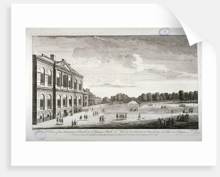 The Treasury and the canal in St James's Park, Westminster, London by John Smith