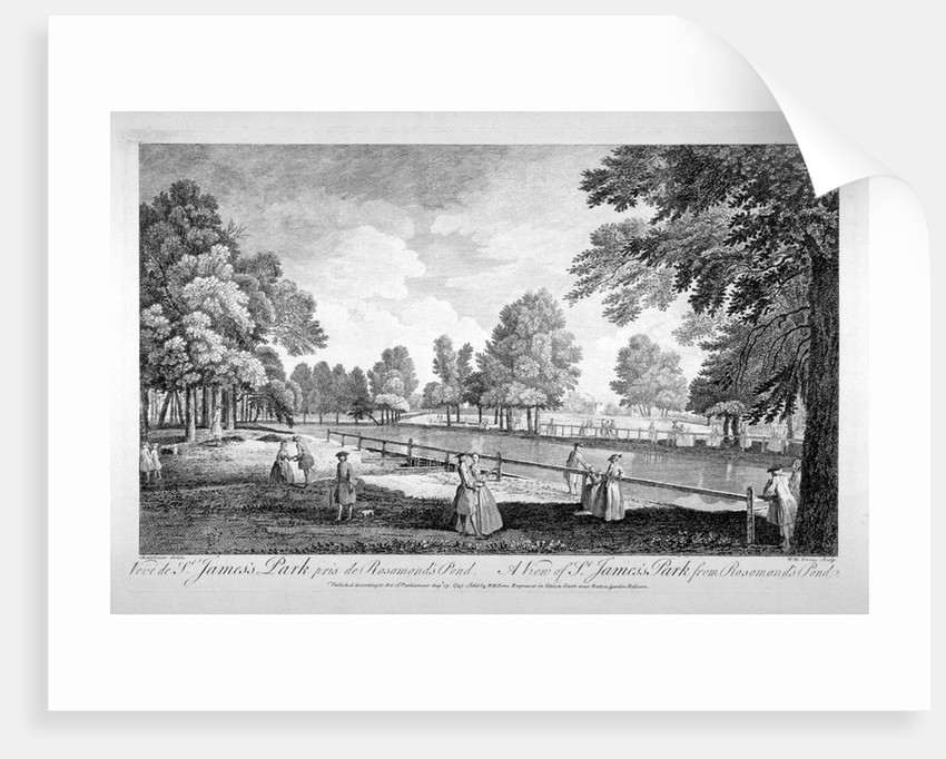 View of St James's Park from Rosamond's Pond, Westminster, London by William Henry Toms