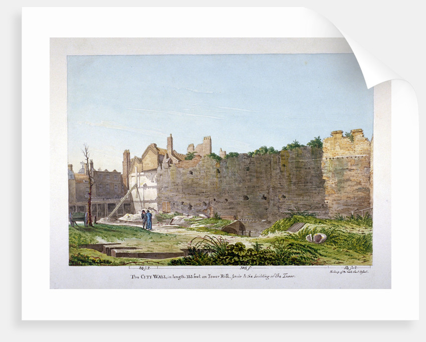 View of the Wall of London on Tower Hill, London by Robert Blemmell Schnebbelie