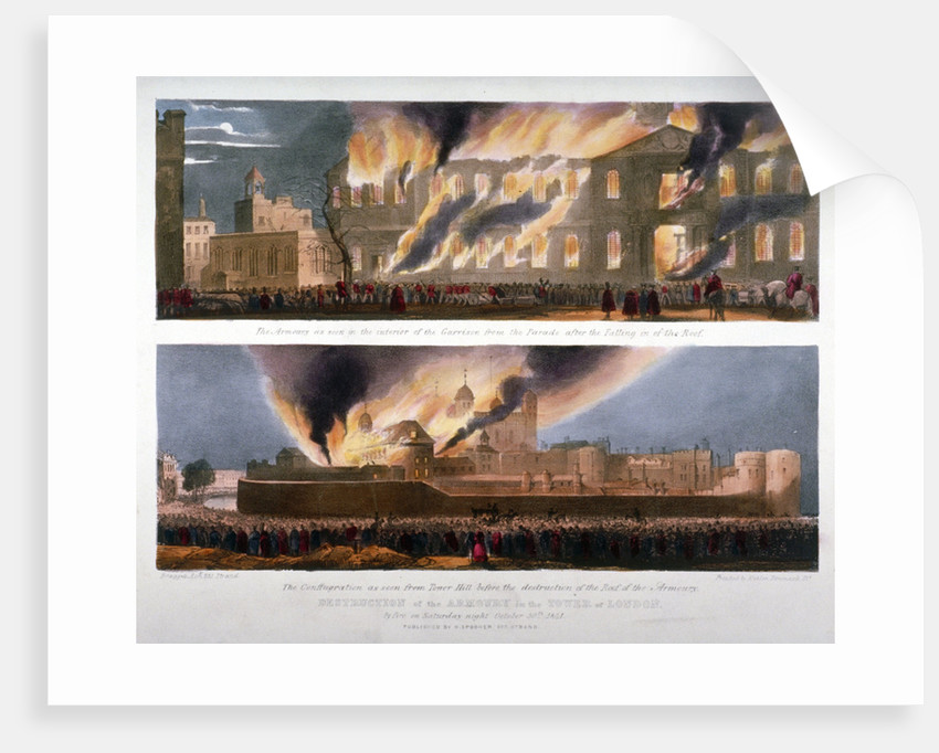 Two views of the destruction of the Armoury in the Tower of London by fire, 30 October 1841 by W Kohler & Co