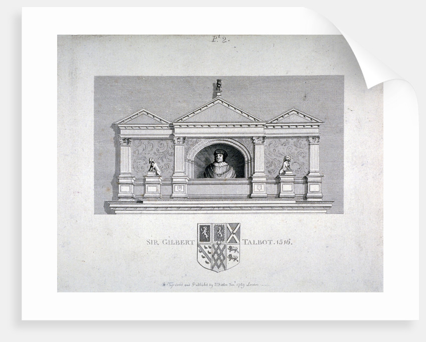Monument to Sir Gilbert Talbot, Master of the Jewel House at the Tower of London by James Fittler